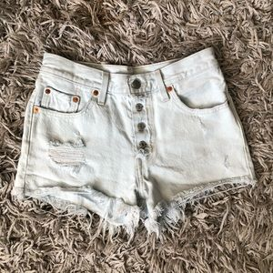 Levi's high rise jean shorts button fly raw frayed